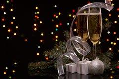 Champán Año Nuevo y la Navidad Imagen de archivo libre de regalías