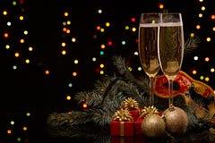 Champán Año Nuevo y la Navidad Fotografía de archivo