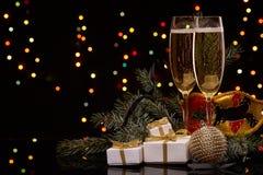 Champán Año Nuevo y la Navidad Imagenes de archivo