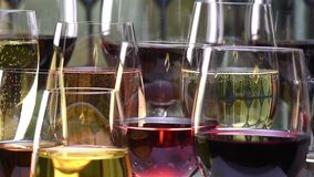 Champán, blanco, vino color de rosa y rojo y bebidas en fondo del vitral metrajes