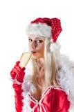 Champán de consumición de señora Papá Noel Imagenes de archivo
