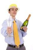 Champán de la bebida del hombre de negocios fotos de archivo libres de regalías