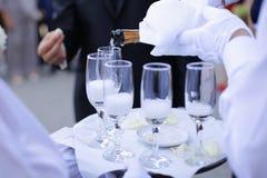 Champán de la porción del camarero en una bandeja Foto de archivo