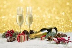 Champán de la tostada del Año Nuevo Imagen de archivo