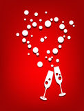 Champán del corazón de la tarjeta del día de San Valentín Imagen de archivo libre de regalías