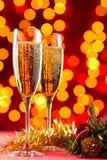 Champán en la Navidad Fotos de archivo libres de regalías