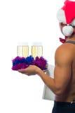 Champán en una bandeja para la tabla de los Años Nuevos Imagen de archivo