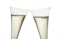 Champán o vino espumoso en vidrio del champán Fotografía de archivo libre de regalías