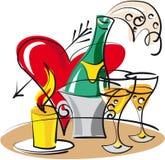 champán para los amantes Foto de archivo libre de regalías