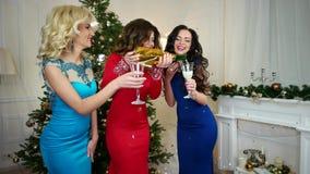 Champán que vierte en una muchacha de cristal en un partido, celebración de Nochevieja, mujer joven hermosa que celebra la Navida almacen de metraje de vídeo