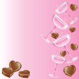 Champán rosado y chocolate Imagenes de archivo