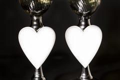 Champán y día de tarjetas del día de San Valentín, amor y lujo imagen de archivo libre de regalías