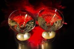 Champán y día de tarjetas del día de San Valentín, amor y lujo Foto de archivo