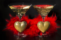 Champán y día de tarjetas del día de San Valentín, amor y lujo imagenes de archivo