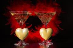 Champán y día de tarjetas del día de San Valentín, amor y lujo Imágenes de archivo libres de regalías