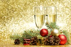 Champán y decoraciones Imagen de archivo libre de regalías