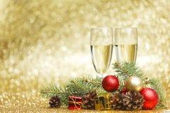 Champán y decoraciones Fotografía de archivo libre de regalías