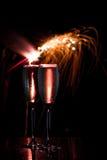 Champán y fuegos artificiales Imágenes de archivo libres de regalías