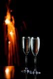 Champán y fuegos artificiales Foto de archivo libre de regalías