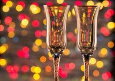 Champán y fuegos artificiales de la botella Imágenes de archivo libres de regalías