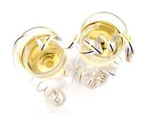 Champán y oropel sobre blanco Foto de archivo libre de regalías
