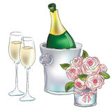 Champán y rosas Fotografía de archivo