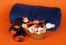 Champú, gel, cosméticos en cesta Foto de archivo libre de regalías