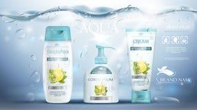 Champú que empaqueta, tubo poner crema, botella del jabón que hace publicidad de la plantilla azul subacuática realista Promoción ilustración del vector