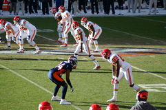 Champ. Denver bronco's cornerback champ bailey lines up to guard a chiefs reciever. Denevr broncos are playing in the nfl playoffs royalty free stock photography