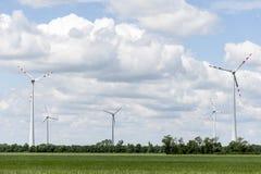 Champ d'énergie éolienne le jour d'été Photos stock