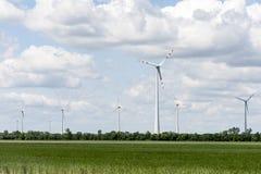 Champ d'énergie éolienne le jour d'été Photo libre de droits