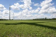 Champ d'énergie éolienne le jour d'été avec l'ombre de rotor Photos libres de droits