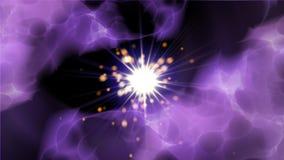 Champ d'énergie avec les nuages et l'éclair foncés, fond moderne lumineux, illustration du rendu 3d photos libres de droits
