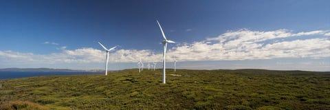 Champ d'éoliennes Images stock