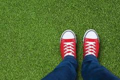 Champ d'herbe avec des pieds utilisant les espadrilles rouges Photographie stock libre de droits