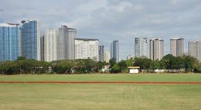 Champ d'herbe avec le bâtiment ayant beaucoup d'étages comme fond Image stock