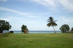 Champ d'herbe et de mer avec le ciel mou photographie stock libre de droits