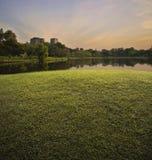 Champ d'herbe verte avec le parc public au-dessus du coucher du soleil Photo stock
