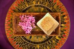 Champ de cablage à couches multiples rond avec des fleurs et des sels de Bath Image stock