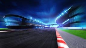 Champ de courses avec et stade principal à la tache floue de mouvement Image stock