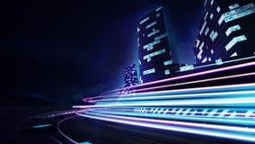Champ de courses grand de ville avec la fusée colorée de vitesse Images stock