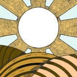 Champ de ferme avec le soleil dans le ciel Images stock