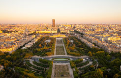 Champ de Mars as seen from the Eiffel Tower. In Paris, France royalty free stock image