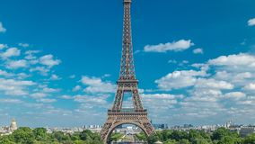 Champ de Mars and the Eiffel Tower timelapse in a sunny summer day. Paris, France. View from square Trocadero stock video footage