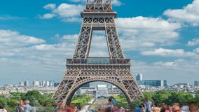Champ de Mars and the Eiffel Tower timelapse in a sunny summer day. Paris, France. View from square Trocadero stock video