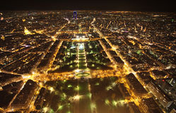 Champ de Mars night view from Eiffel Tower. Paris Stock Photography