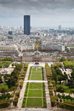 Champ de Mars view from the Eifell tower Royalty Free Stock Images