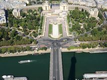 Champ de Mars view from top of eiffel tower looking down see the entire city as a beautiful classic architecture. A romantic place stock photography