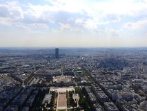 Champ de Mars view from top of eiffel tower looking down see the entire city as a beautiful classic architecture. A romantic place royalty free stock photography