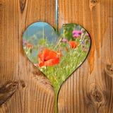 Champ de pavot, coeur en bois Image stock